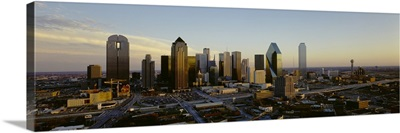 High angle view of buildings in a city, Dallas, Texas