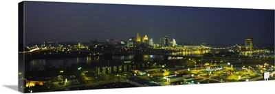 High angle view of buildings in a city lit up at night, Cincinnati, Ohio