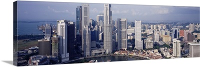 High angle view of buildings in a city, Singapore