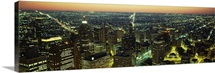 High angle view of buildings lit up at night, Detroit, Michigan