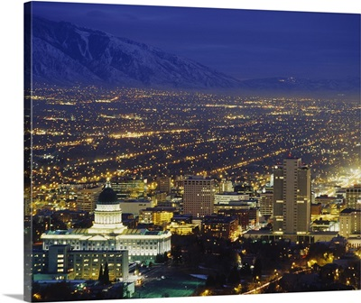 High angle view of buildings lit up at night in a city, State Capitol Building, Salt Lake City, Utah