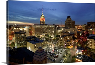 High angle view of buildings lit up at night, San Antonio River Walk, San Antonio, Texas