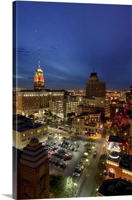 High angle view of buildings lit up at night, San Antonio, Texas