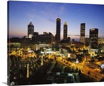 High angle view of buildings lit up at sunset, Centennial Olympic Park, Atlanta, Georgia