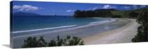 High angle view of coastline, Waipu, Northland, New Zealand