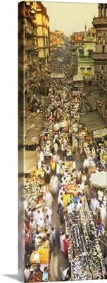 High angle view of crowd at a street market, Mumbai, India