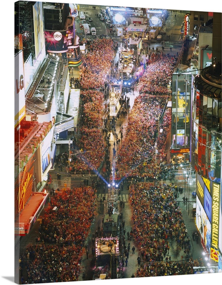 High Angle View Of Crowd On The Street Celebrating New