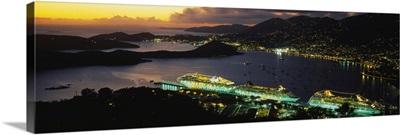 High angle view of cruise ships lit up at dusk, Charlotte Amalie, St. Thomas, US Virgin Islands