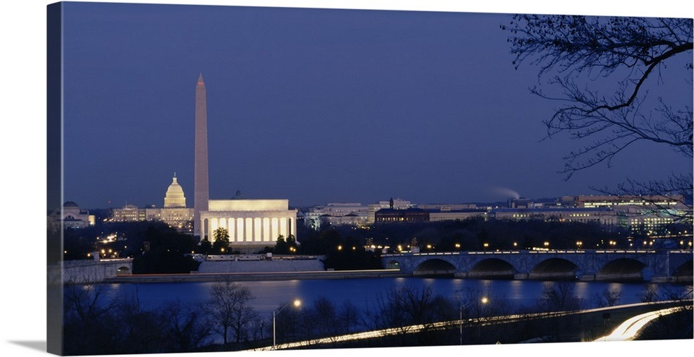 High Angle View Of Government Buildings Lit Up At Dusk Washington Monument Lincoln Memorial Capitol Building Washington Dc