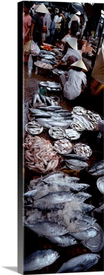 High angle view of people in a fish market, Hue, Vietnam