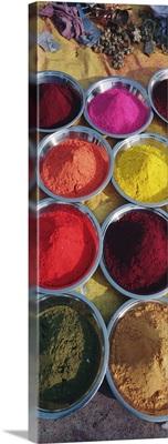 High angle view of powder paints in bowls, Orchha, Madhya Pradesh, India