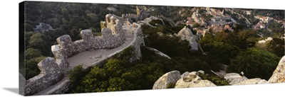 High angle view of ruins of a castle, Castelo Dos Mouros, Sintra, Portugal