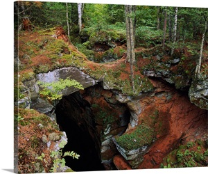 High Angle View Of Sand Cave Opening Apostle Islands