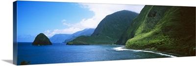 High angle view of sea cliffs at Kalawao, Pacific Ocean, Kalaupapa Peninsula, Molokai, Hawaii