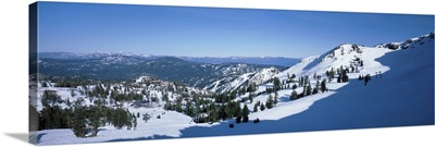 High angle view of snow covered mountains, Lake Tahoe, Nevada