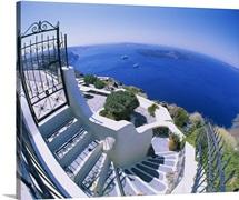 High angle view of steps, Santorini, Greece