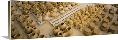 High angle view of terracotta pots, Hanoi, Vietnam