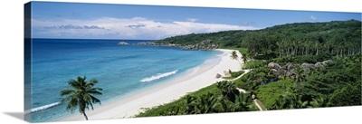 High angle view of the beach, Grand Anse Beach, La Digue Island, Seychelles
