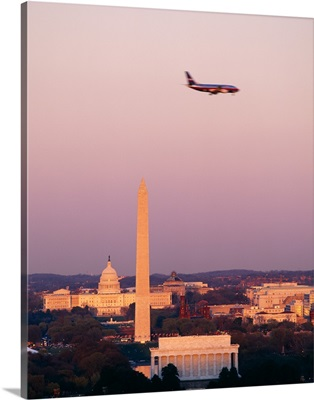 High angle view of the Lincoln Memorial, Washington Monument, and US Capitol Building at sunset, Washington DC