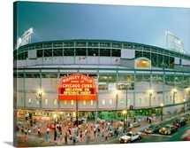 High angle view of tourists outside a baseball stadium opening night, Wrigley Field, Chicago, Illinois, 1998