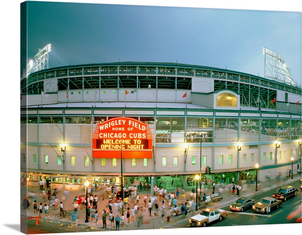 High Angle View Of Tourists Outside A Baseball Stadium Opening Night, Wrigley  Field, Chicago Part 81