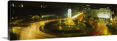 High angle view of traffic moving around a statue, Marques De Pombal Square, Lisbon, Portugal