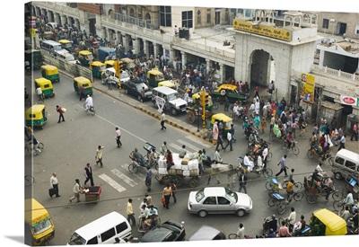 High angle view of traffic on a road, HC Sen Road, Chandni Chowk, Old Delhi, Delhi, India