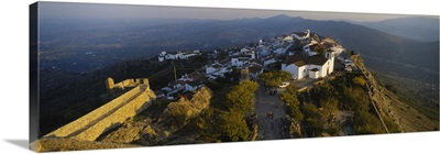 High angle view of village on top of a hill, Marvao, Portalegre, Portugal