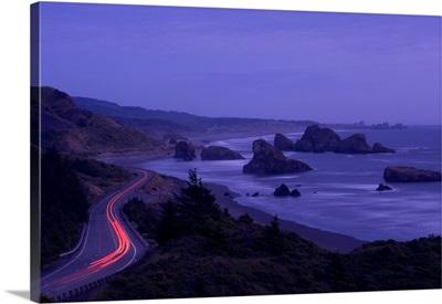 Highway along the coast, US Route 101, Cape Sebastian State Scenic Corridor, Oregon,