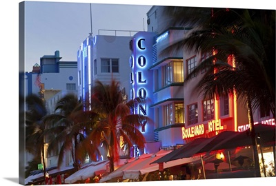 Hotels lit up at dusk in a city, Miami, Miami-Dade County, Florida