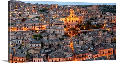 Houses in a town on a hill, Cathedral Of San Giorgio, Modica, Sicily, Italy