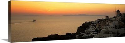 Houses on a hill at dusk, Oia, Santorini, Cyclades Islands, Greece II