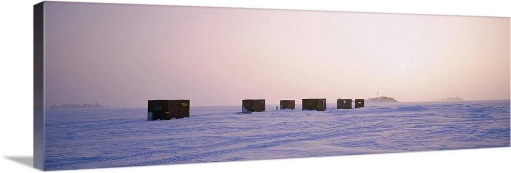 Ice fishing shacks on a frozen lake, Lake Of The Woods, Minnesota