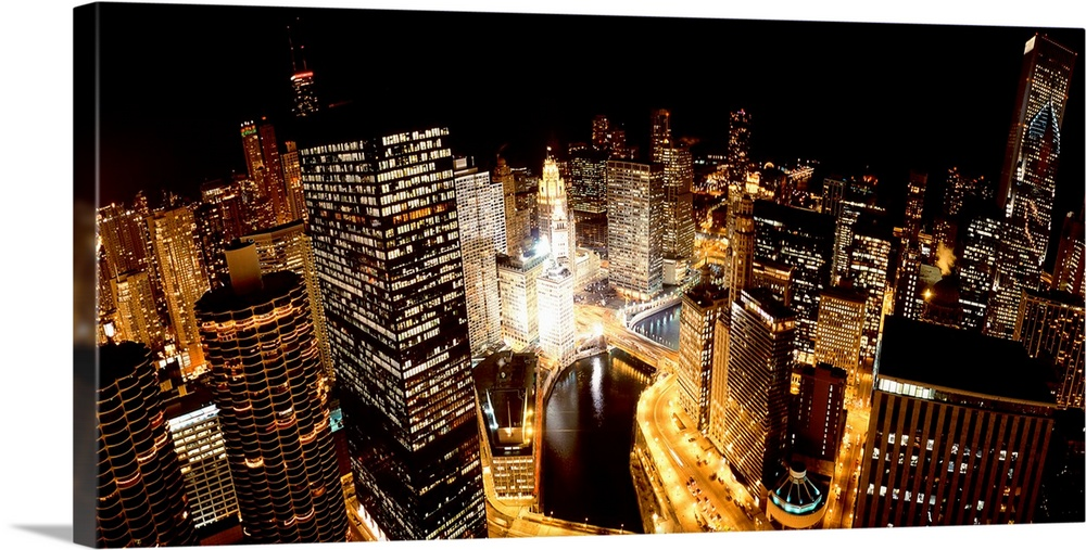 Illinois, Chicago, Chicago River, High angle view of the city at night