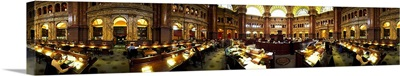 Interiors of the main reading room of a library, Library Of Congress, Washington DC,