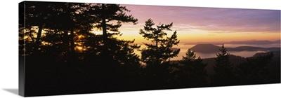 Island at sunset, Mount Erie, San Juan Islands, Fidalgo Island, Skagit County, Washington State