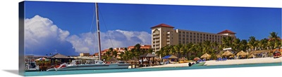 Island view with high-rise hotels at the coast, Aruba