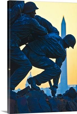 Iwo Jima Memorial at dusk with Washington Monument, Arlington National Cemetery