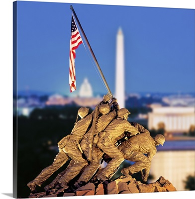 Iwo Jima Memorial with Washington Monument in the background