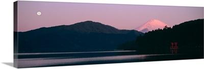 Lake in front of mountains, Lake Ashinoko, Mt Fuji, Hakone, Kanagawa Prefecture, Japan