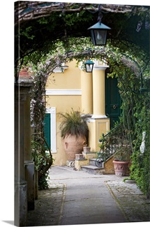 Lanterns hanging in a garden, Capri, Naples, Campania, Italy