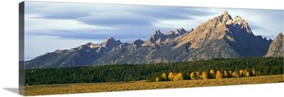 Lenticular clouds over mountain range, Grand Teton National Park, Wyoming