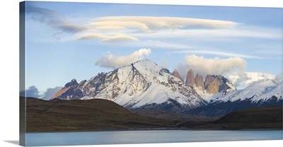 Lenticular clouds over mountains seen from Laguna Amarga, Chile
