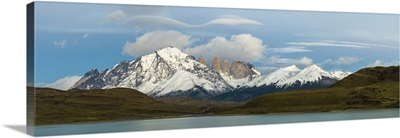 Lenticular clouds over mountains, Torres Del Paine National Park, Chile