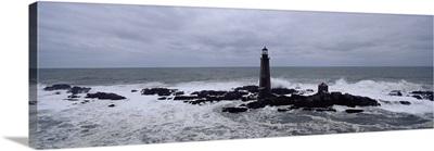 Lighthouse on the coast, Graves Light, Boston Harbor, Massachusetts