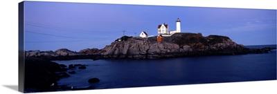 Lighthouse on the coast, Nubble Lighthouse, York, York County, Maine,