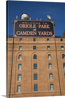 Low angle view of a baseball park, Oriole Park at Camden Yards, Baltimore, Maryland