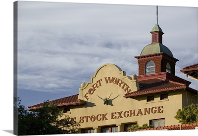 Low angle view of a commercial building, Fort Worth Livestock Exchange, Fort Worth Stockyards, Fort Worth, Texas