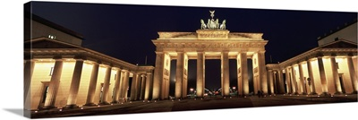 Low angle view of a gate lit up at night, Brandenburg Gate, Berlin, Germany