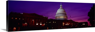 Low angle view of a government building lit up at twilight, Capitol Building, Washington DC